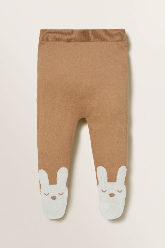 Footed Knitted Legging  TEDDY BROWN  hi-res