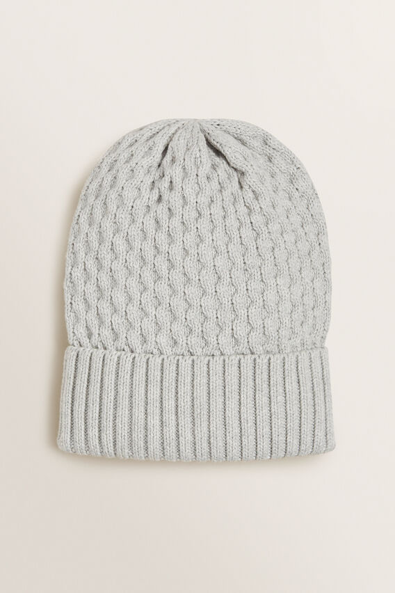 Honeycomb Knit Beanie  GREY MARLE  hi-res