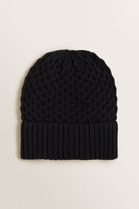 Honeycomb Knit Beanie  BLACK  hi-res