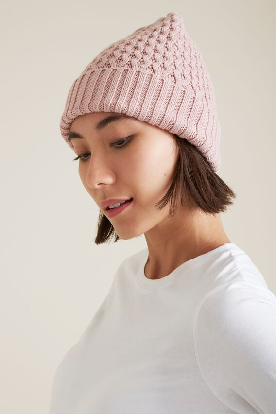 Honeycomb Knit Beanie  NEUTRAL PINK  hi-res