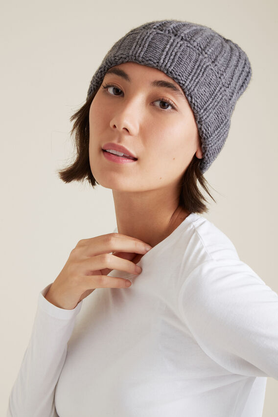 Rib Knit Beanie  CHARCOAL  hi-res