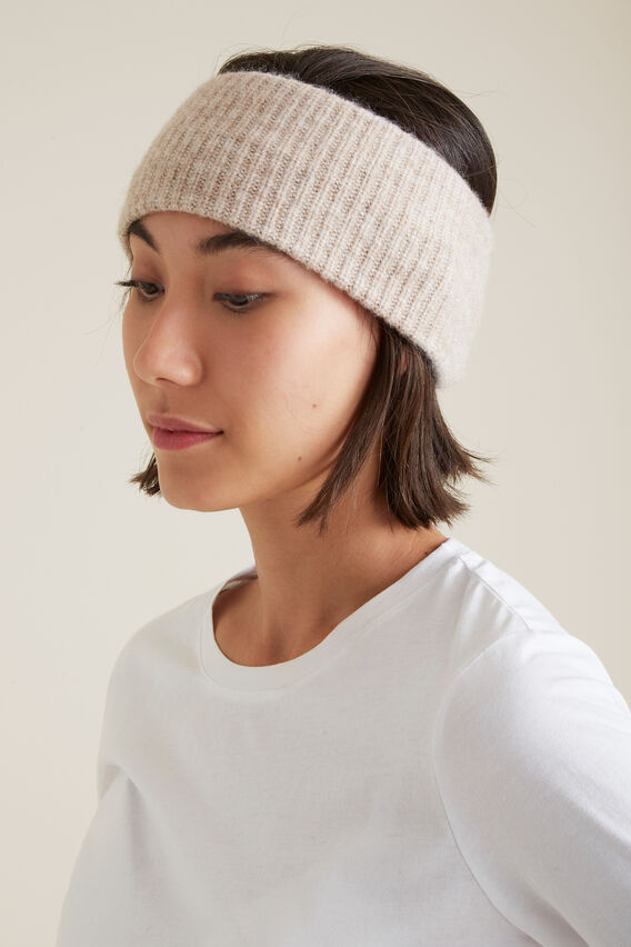Rib Knit Turban  SOFT BEIGE MARLE  hi-res
