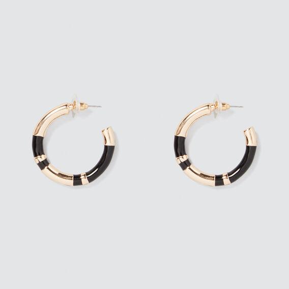 Colour Block Hoops  GOLD/BLACK  hi-res