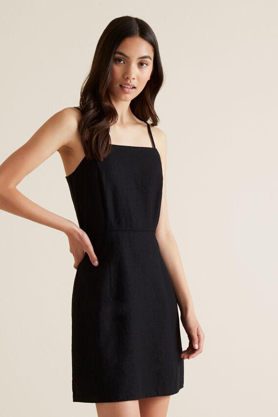 Linen Blend Dress  BLACK  hi-res