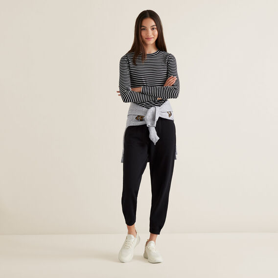 Elasticated Trackies  BLACK  hi-res