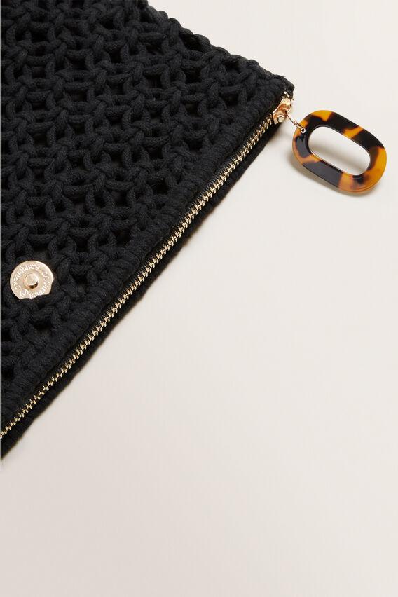 Crotchet Fold Over Clutch  BLACK  hi-res