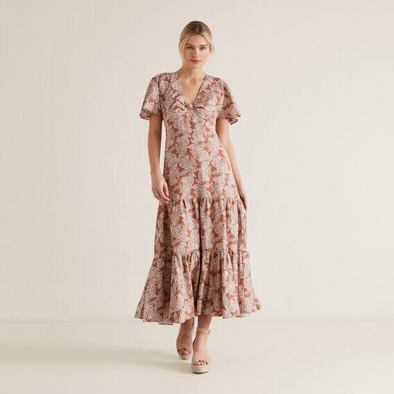 OCT KNOT DETAIL TIER DRESS  WASHED APRICOT PAISL  hi-res