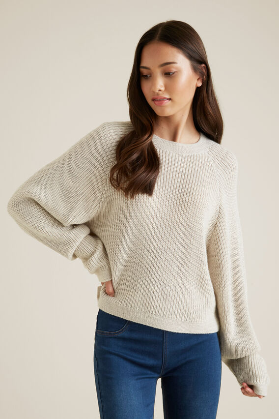 Favourite Cropped Knit  OAT MARLE  hi-res