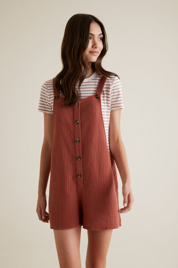 Cheesecloth Romper  RUST  hi-res