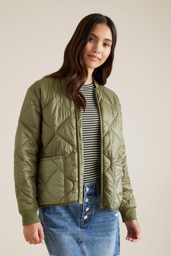 Quilted Jacket  OLIVE  hi-res