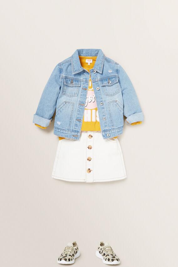 Button Denim Skirt  CREAM  hi-res