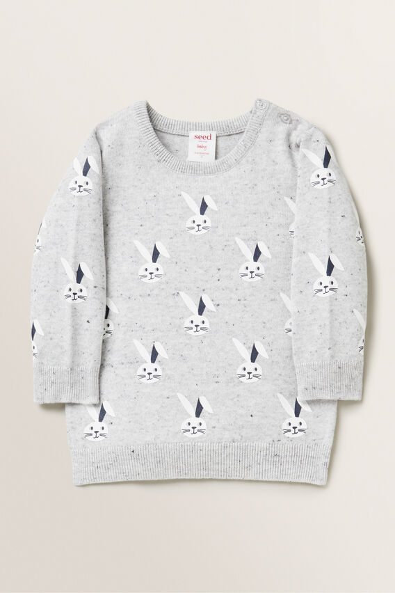 Bunny Print Knitted Sweater  CLOUDY MARLE  hi-res