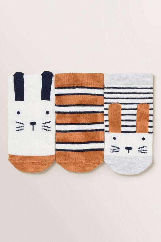 3 Pack Bunny Socks  NUTMEG  hi-res