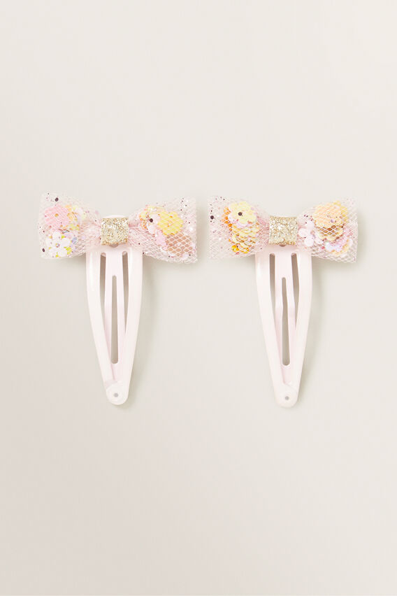 Flower Frilled Bow Snap  PINK  hi-res