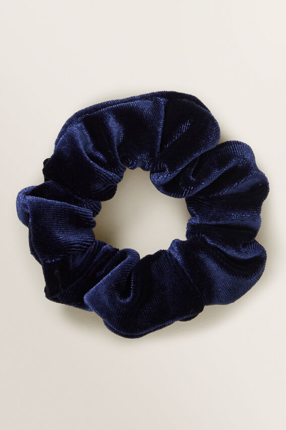 Velvet Scrunchie  NAVY  hi-res