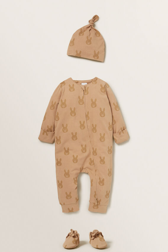 Bunny Zipsuit  TEDDY BROWN  hi-res