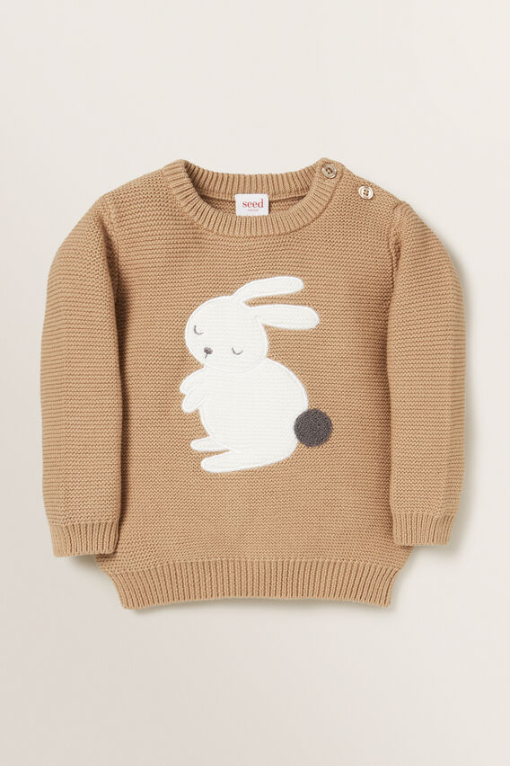 Bunny Crew Knit Sweater  TEDDY BROWN  hi-res