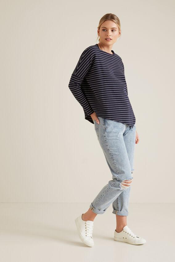 Asymmetrical Sweater  BLUE IRIS STRIPE  hi-res