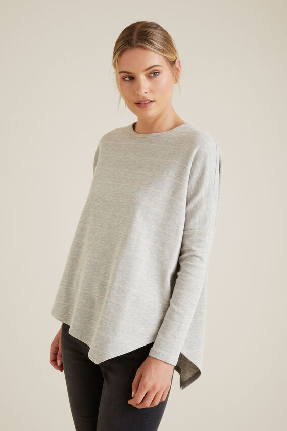 Asymmetrical Sweater  SLATE GREY STRIPE  hi-res