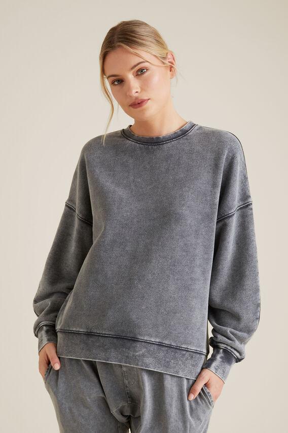 Acid Wash Terry Sweater  COAL ACID WASH  hi-res