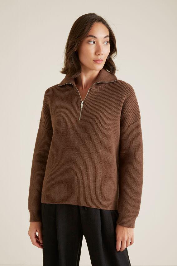 Zip Knit Sweater  LIGHT CHOCOLATE  hi-res
