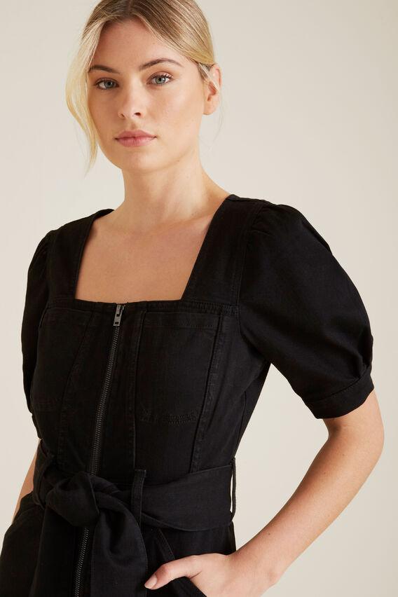 Mini Tie Up Denim Dress  BLACK  hi-res