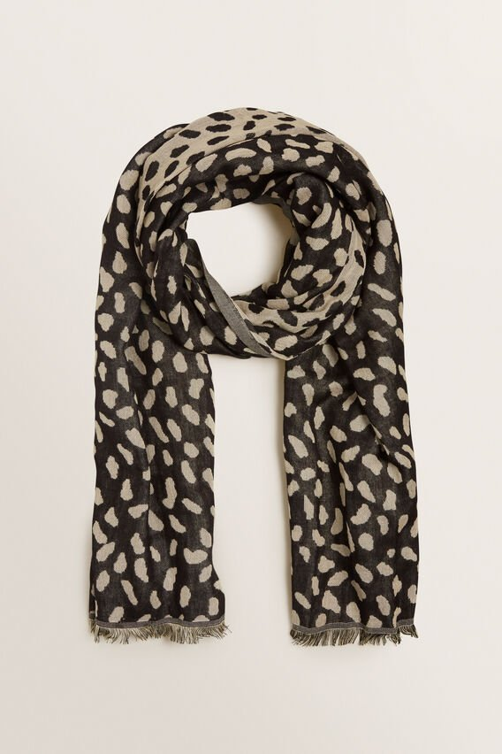 Abstract Spot Jacquard Scarf  BLACK MULTI  hi-res