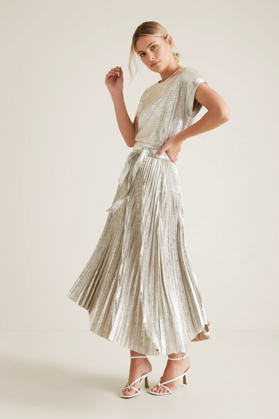 Metallic Stepped Skirt  CRACKED SILVER  hi-res