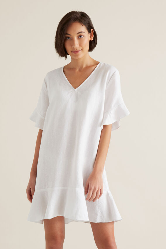 Linen Flutter Sleeve Dress  WHISPER WHITE  hi-res