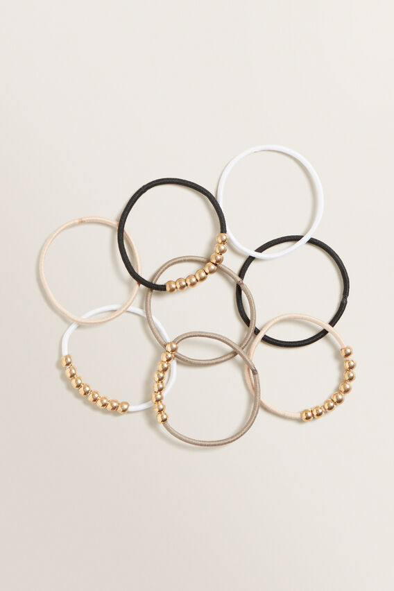 Beaded Hair Tie Pack  NEUTRAL  hi-res
