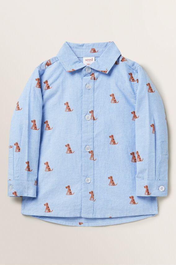 Dog Print Shirt  CORNFLOWER BLUE  hi-res
