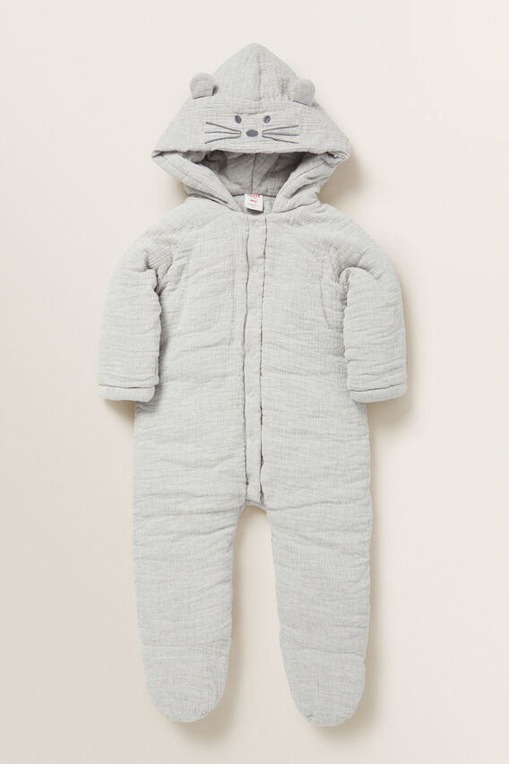 Hooded Cheesecloth Suit  BIRCH MARLE  hi-res