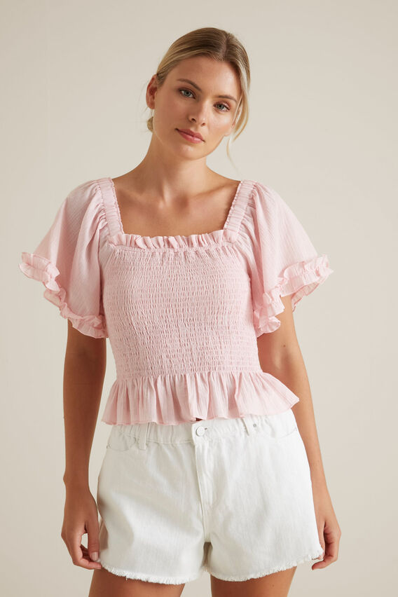 Shirred Mini Stripe Top  WATERMELON PINK  hi-res