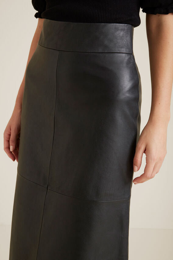 A Line Leather Skirt  BLACK  hi-res