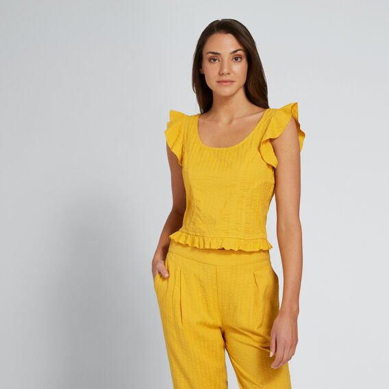 Self Stripe Top  AMBER YELLOW  hi-res