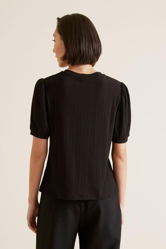 Puff Sleeve Crinkle Top  BLACK  hi-res