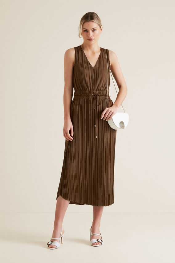 Flowing V Neck Dress  LIGHT CHOCOLATE  hi-res