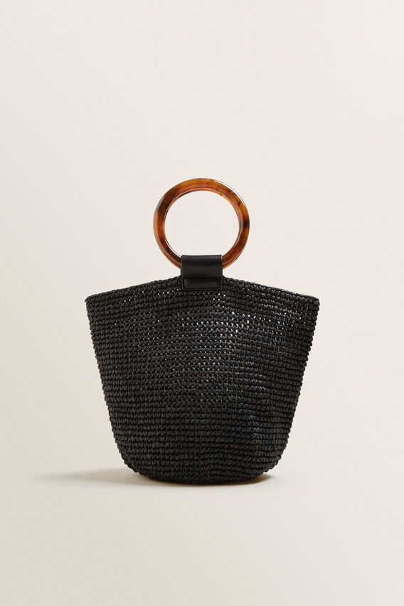 Ring Handle Woven Tote  BLACK  hi-res