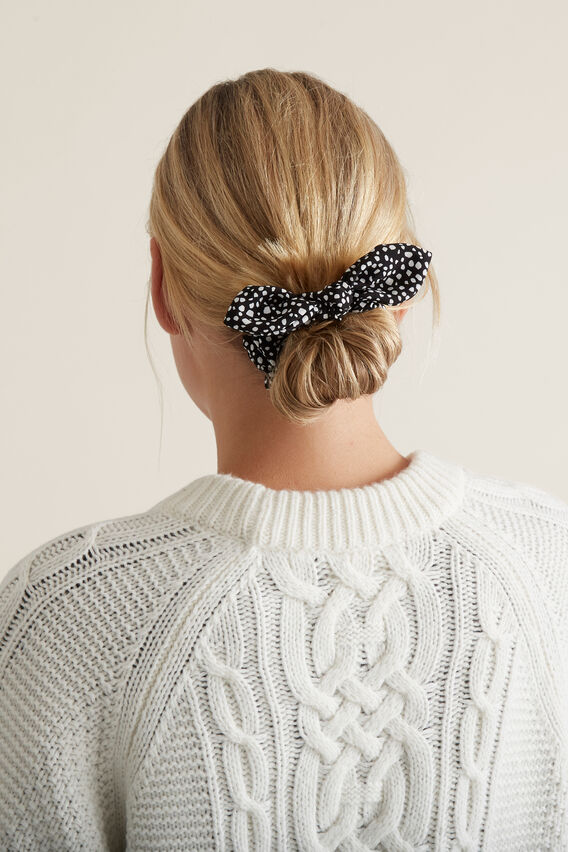Bow Scrunchie  BLACK/WHITE  hi-res