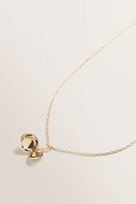 Circle Locket Necklace  GOLD  hi-res