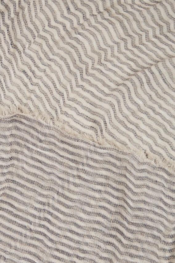 Stripe Linen Scarf  BLUE IRIS  hi-res