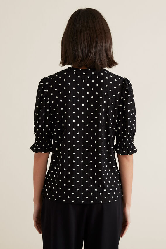Shirred Sleeve Top  BLACK/WHITE SPOT  hi-res