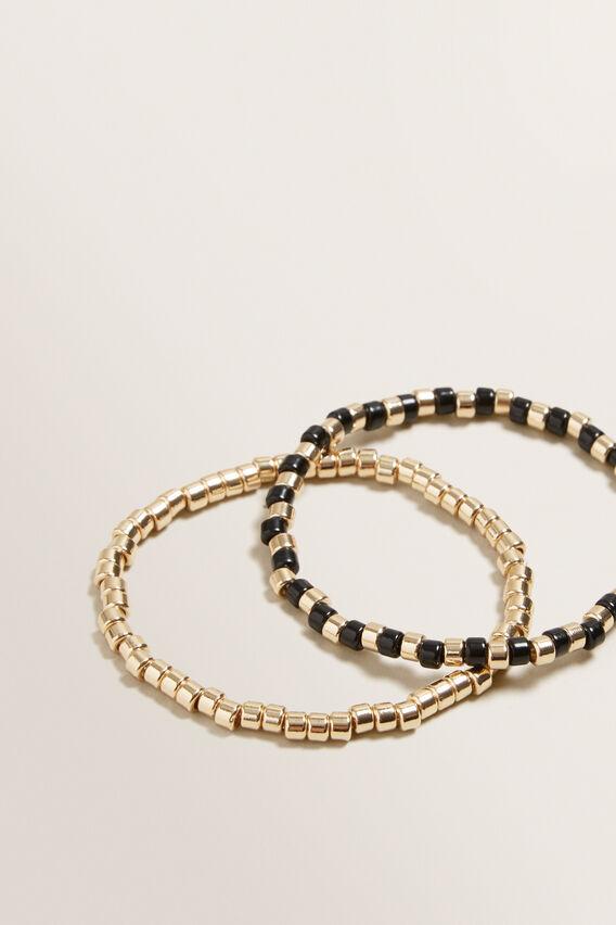 Contrast Bead Bracelet  GOLD/BLACK  hi-res