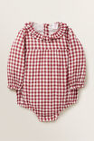 Gingham Frill Onesie, RUBY RED, hi-res