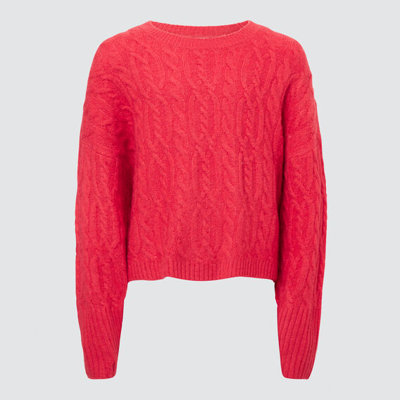 Cable Crop Sweater  CHERI RED  hi-res