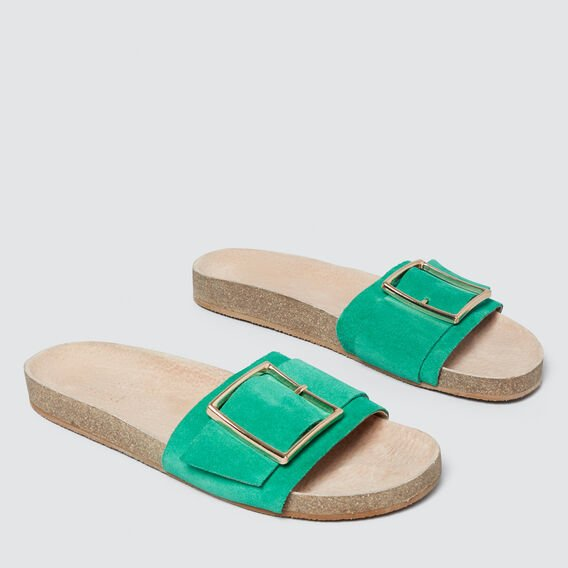 Sienna Buckle Slide  PEACOCK GREEN  hi-res