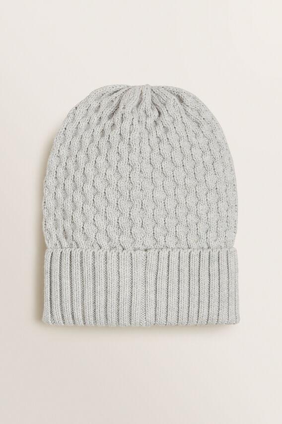 Honeycomb Knit Beanie  GREY MARLE  hi-res