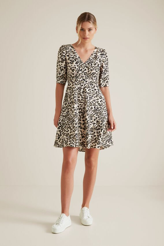 Mini Shirred Animal Dress  KHAKI ANIMAL  hi-res