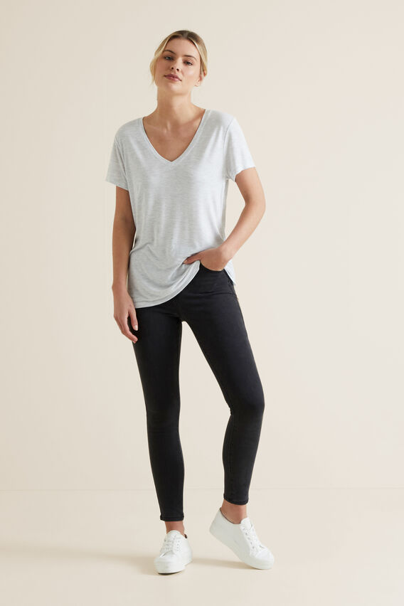 Core V Neck Drapey Tee  LIGHT GREY MARLE  hi-res