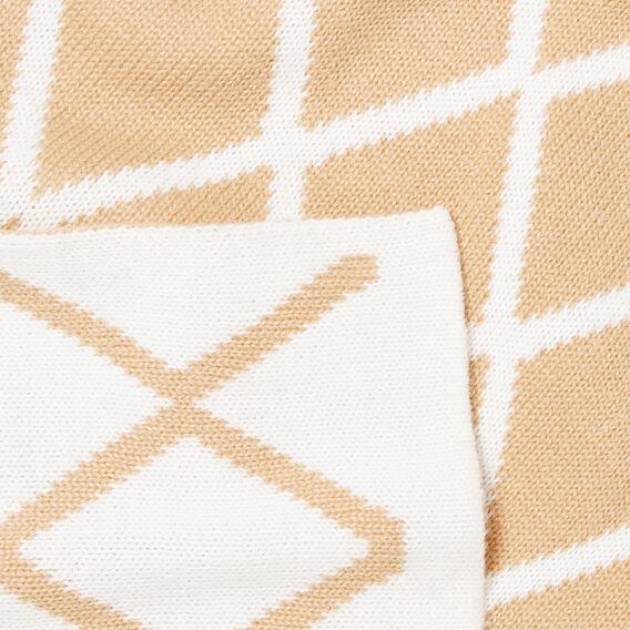Diamond Knit Scarf  CARAMEL/CREAM  hi-res